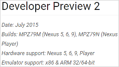 Google、Android  M Developer Previewをアップデート!「Preview 2」を公開!