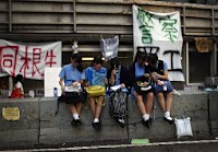 封鎖が解かれた政府本部前=香港